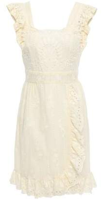 Anna Sui Open-back Ruffle-trimmed Broderie Anglaise Mini Dress