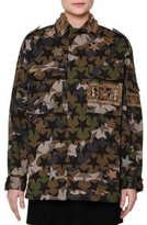 Valentino Star-Embroidered Camouflage Field Jacket, Green Camo