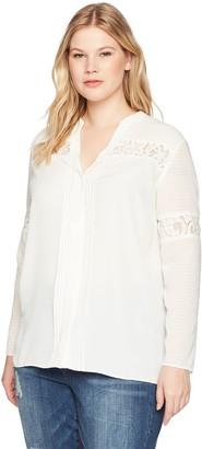 Jones New York Women's Plus Size Combo Lace Insert Shirt