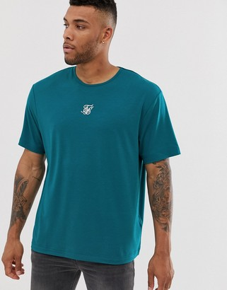 SikSilk oversized t-shirt with central logo in teal-Blue