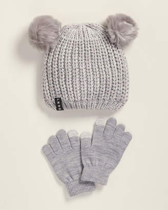 DKNY Girls) Two-Piece Heather Grey Double Pom-Pom Beanie & Gloves Set