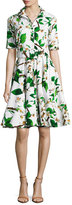 Samantha Sung Gigi Half-Sleeve Floral-Print Shirtdress, White