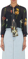 Warm Women's Floral Tieneck Blouse-BLACK