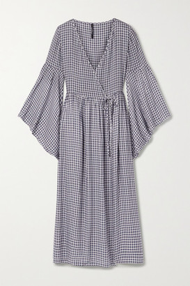 Mother of Pearl Net Sustain Checked Woven Midi Wrap Dress - Navy