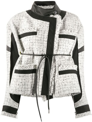 Sacai Contrast Panel Back Tie Tweed Jacket