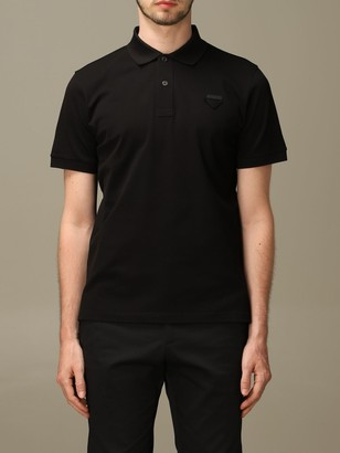 Prada Pique Cotton Polo Shirt With Triangular Logo