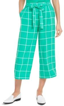 Maison Jules Windowpane Check Crop Capri Pants, Created for Macy's