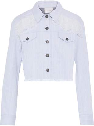 Cinq à Sept Ismay Cropped Frayed Lace-trimmed Denim Jacket