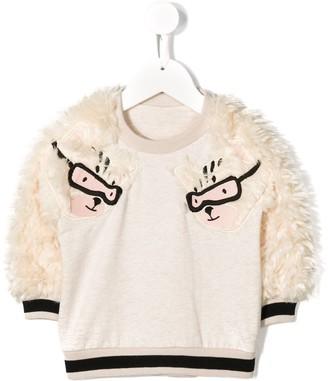 Noé & Zoë Faux Fur Sleeve Sweatshirt