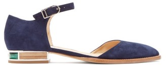 Gabriela Hearst Riley Suede Mary-jane Ballet Flats - Womens - Navy