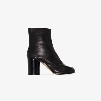 Maison Margiela black Tabi 80 leather ankle boots