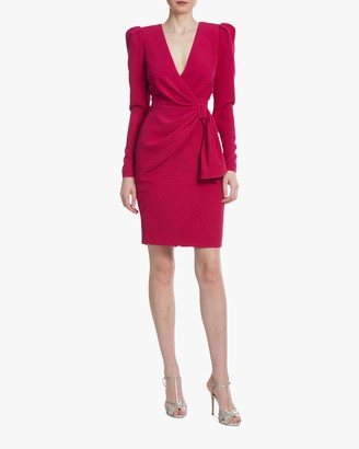 Badgley Mischka Raspberry Side-Knot Cocktail Dress