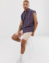 Asos Design DESIGN relaxed 90s style shirt in denim stripe