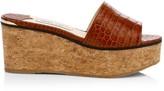 Jimmy Choo DeeDee Croc-Embossed Leather Platform Mules