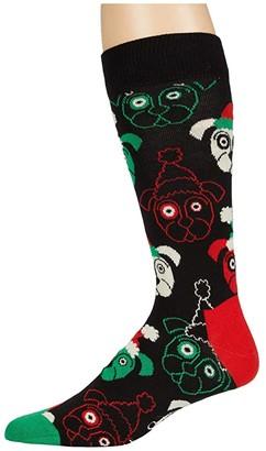 Happy Socks Santa Dog Sock (Black) Men's Crew Cut Socks Shoes