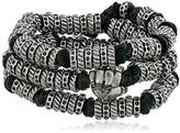 Ettika Men's Black Leather and Colored Donut Beads Wrap Around Bracelet