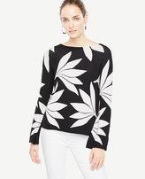 Ann Taylor Fan Floral Bell Sleeve Sweater