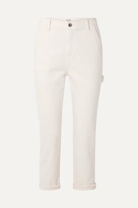 Frame Carpenter Cropped High-rise Straight-leg Jeans - Off-white