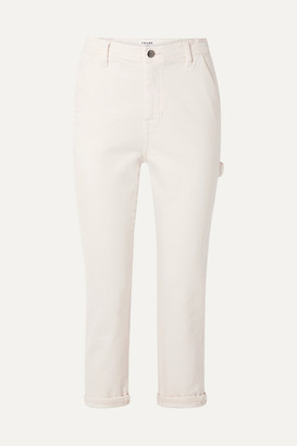 Frame Carpenter Cropped High-rise Straight-leg Jeans - Off-white