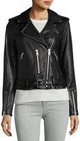 Bagatelle Leather Belted Moto Jacket, Black