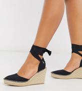 Asos Design DESIGN Wide Fit Time tie leg espadrille wedges in black