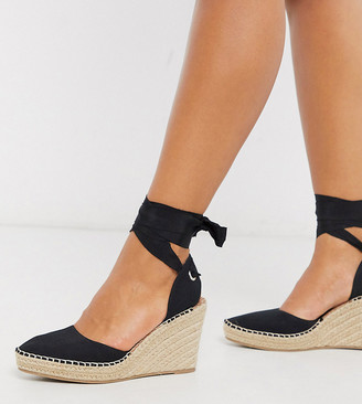 ASOS DESIGN Wide Fit Time tie leg espadrille wedges in black