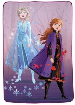 "Disney Frozen Disney's Frozen 2 Kids Plush Blanket, 62"" x 90"", Elsa & Anna Swirling Leaves"