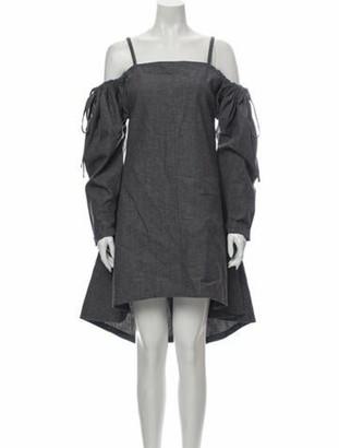 J.W.Anderson Square Neckline Knee-Length Dress Blue Square Neckline Knee-Length Dress