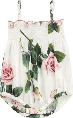 Dolce & Gabbana Pagliaccetto Floral Smocked Bubble Romper