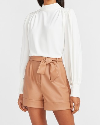 Express Super High Waisted Vegan Leather Tie Front Shorts