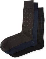 Neiman Marcus Three-Pair Wardrobe Sock Set, Black/Blue/Multi