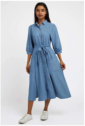 Louche Lilwenn Chambray Midi Dress - 8