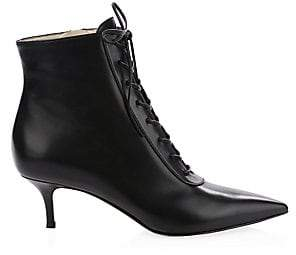 Gianvito Rossi Women's Leather Lace-Up Kitten Heel Booties