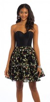 Camille La Vie Satin Embroidered Corset Fit And Flare Homecoming Dress