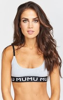 MUMU Logo Banded Bra ~ Grey
