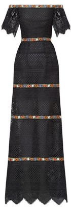 Carolina Herrera Floral-embroidered Guipure-lace Bardot Dress - Black Multi