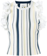 3.1 Phillip Lim Striped ruffled sleeveless top - women - Cotton/Polyester/Spandex/Elastane/Viscose - L