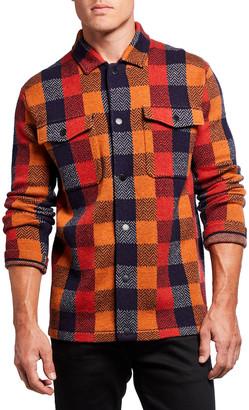 Scotch & Soda Men's Jacquard Buffalo Check Shirt Jacket