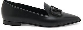 Valentino Women's Garavani V-Logo Leather Point-Toe Loafers