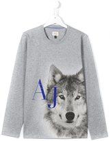 Armani Junior wolf and logo print T-shirt