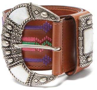 Etro Mother-of-pearl Inlay Embroidered-leather Belt - Tan Multi