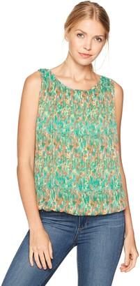 Max Studio Women's Print Sleeveless Bubble Top with Pleat Detail