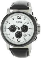 HUGO BOSS Men's 50.22mm Chronograph Black Leather Mineral Glass Watch 1512456