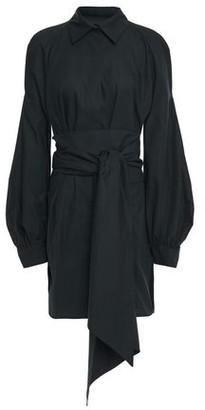 Antonio Berardi Belted Gathered Cotton-poplin Mini Shirt Dress