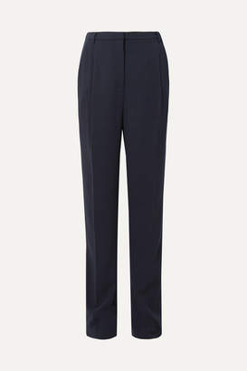 Sally LaPointe Pleated Stretch-crepe Straight-leg Pants - Navy