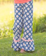 Navy & White Rose Ruffle Pants - Toddler & Girls