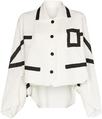Issey Miyake Contrast-Detail Wide-Sleeve Jacket