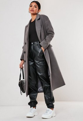 Missguided Grey Oversized Formal Maxi Coat