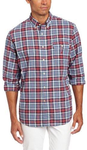 Nautica Men's Long Sleeve Slub Poplin Plaid Shirt