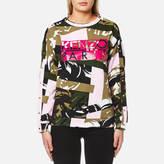 Kenzo Women's Broken Camo Cotton Molleton Logo Sweatshirt Pale Khaki